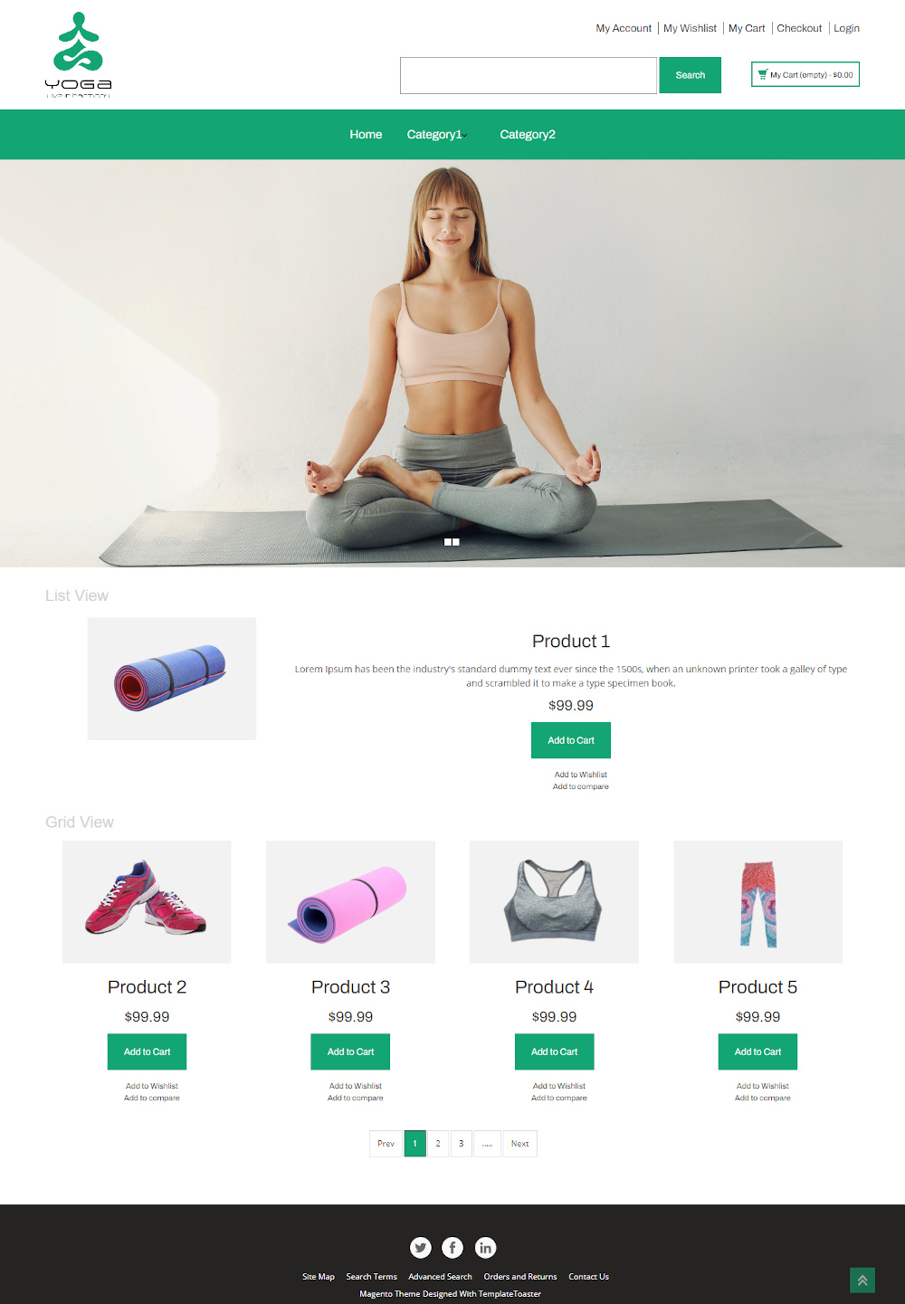 Yoga Accessories Online Store Magento Theme