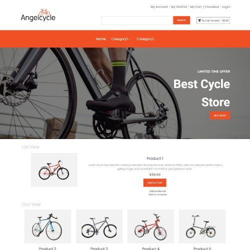 Angelcycle - Online Cycle Store Magento Theme