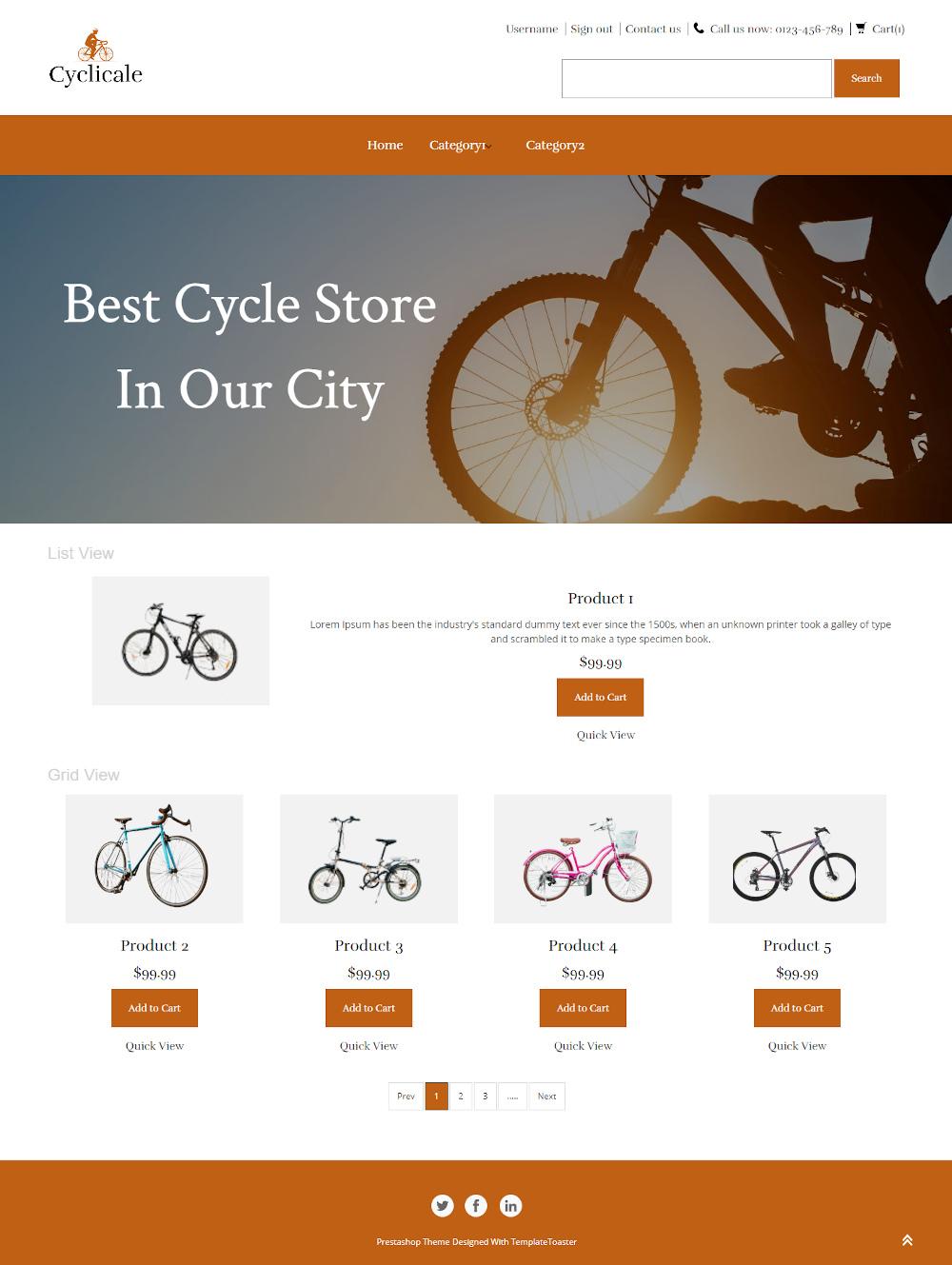 Cyclicale - Online Cycle Store PrestaShop Theme