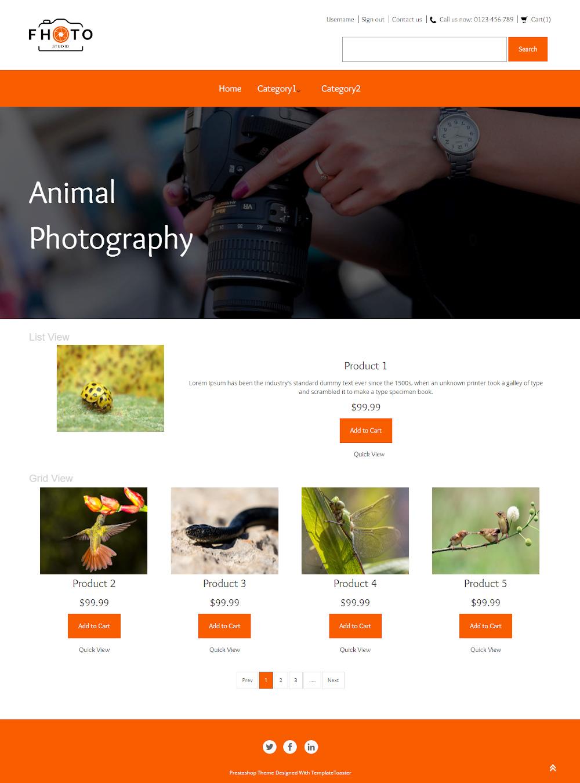 Fhoto Studio - Online Animals Photography PrestaShop Theme
