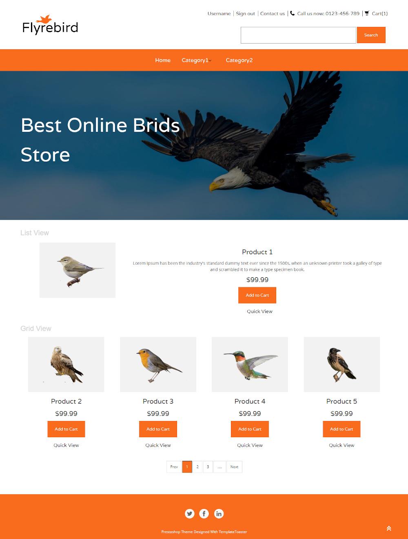 Flyrebird - Online Birds Store PrestaShop Theme