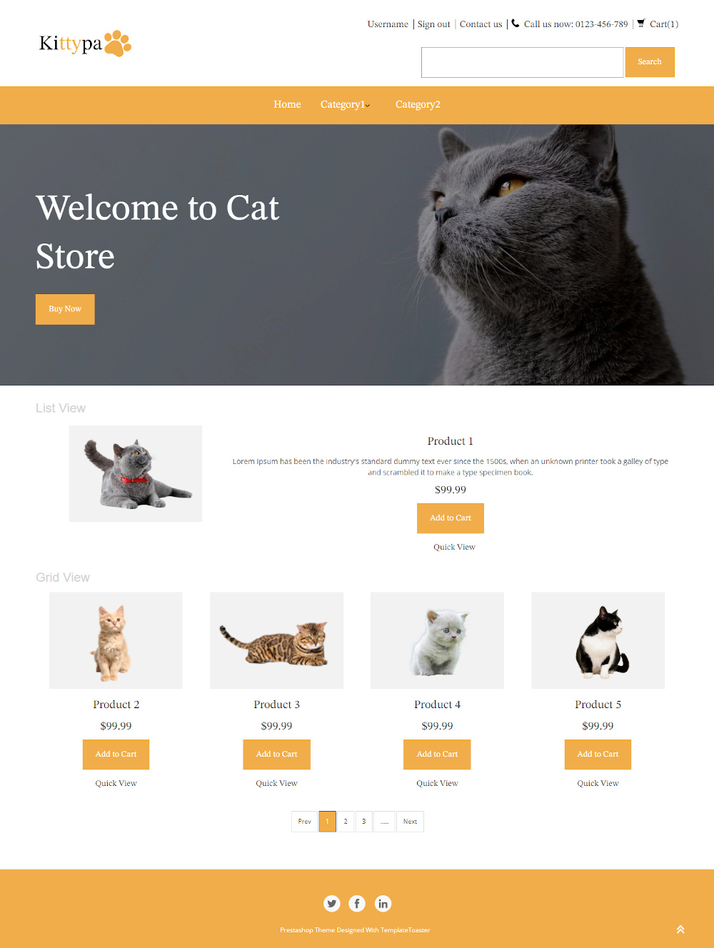 Kittypa - Online Cat Store PrestaShop Theme