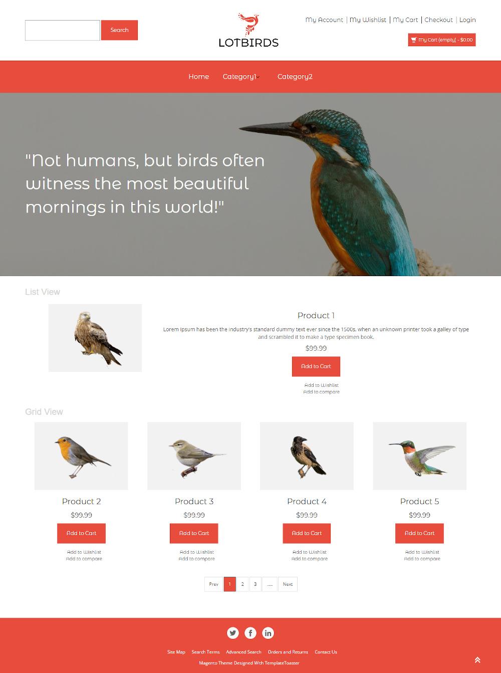 Lotbirds - Online Birds Store Magento Theme