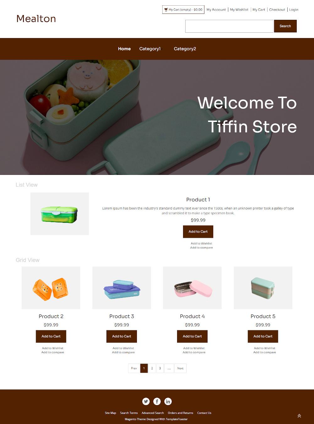 Mealton - Online Tiffin Box Store Magento Theme