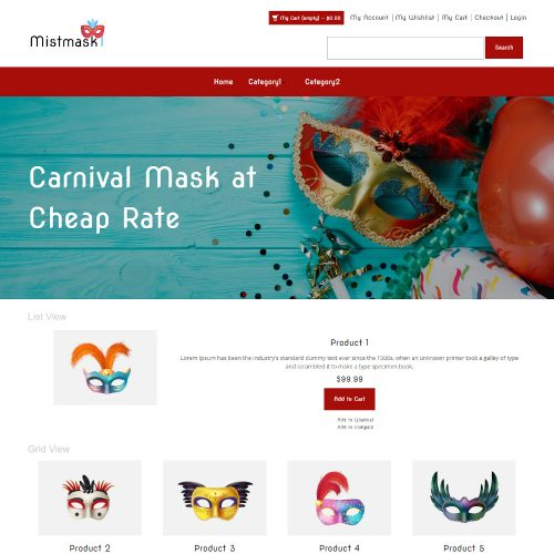Mistmask - Online Carnival Mask Store Magento Theme