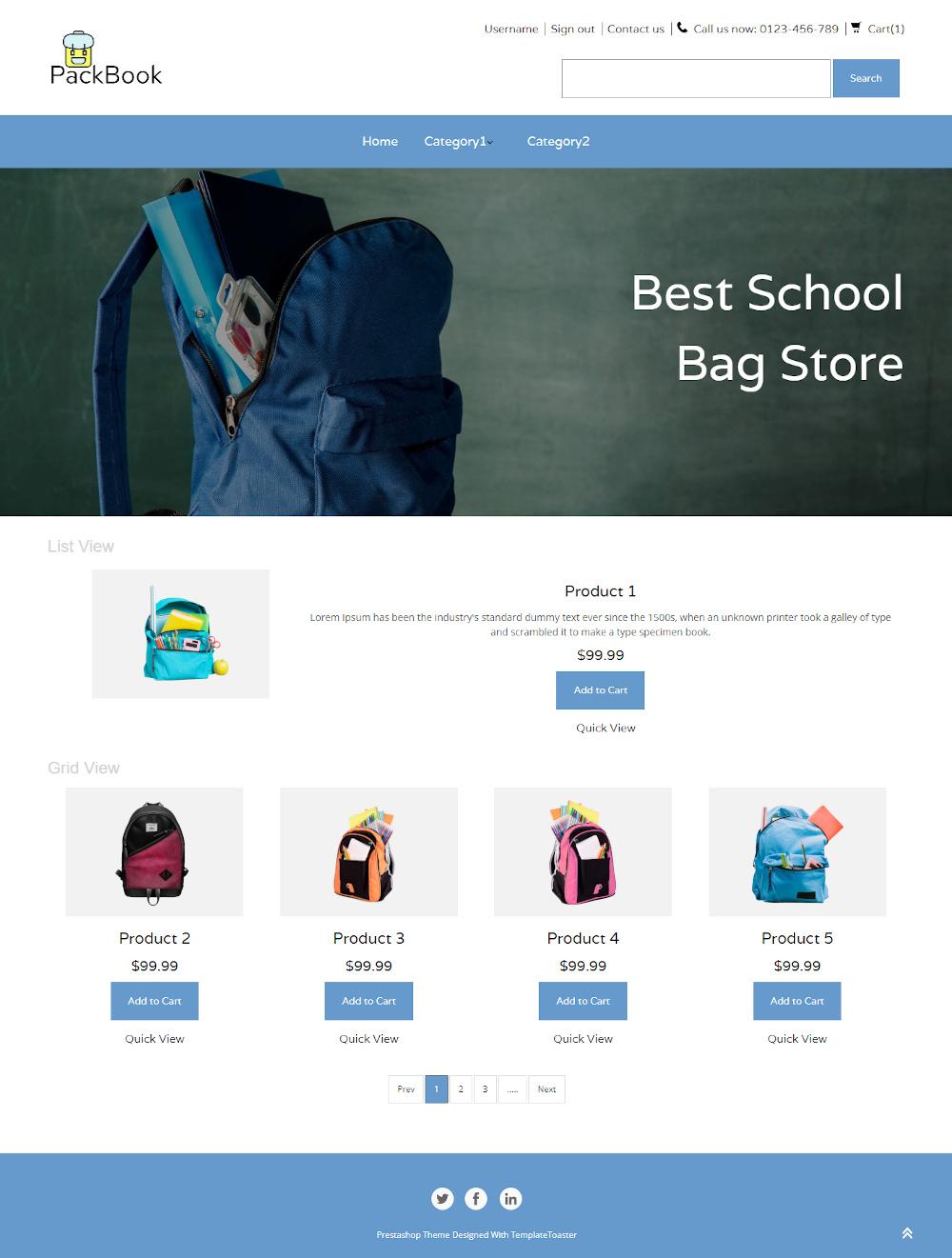 PackBook - Online School Bag Store PrestaShop Theme