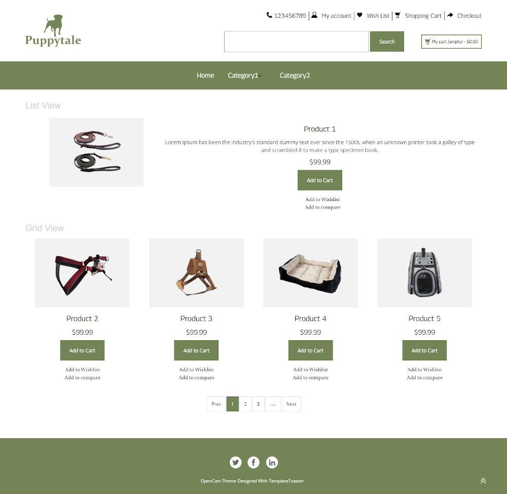 Puppytale - Online Pet Accessories Store OpenCart Theme
