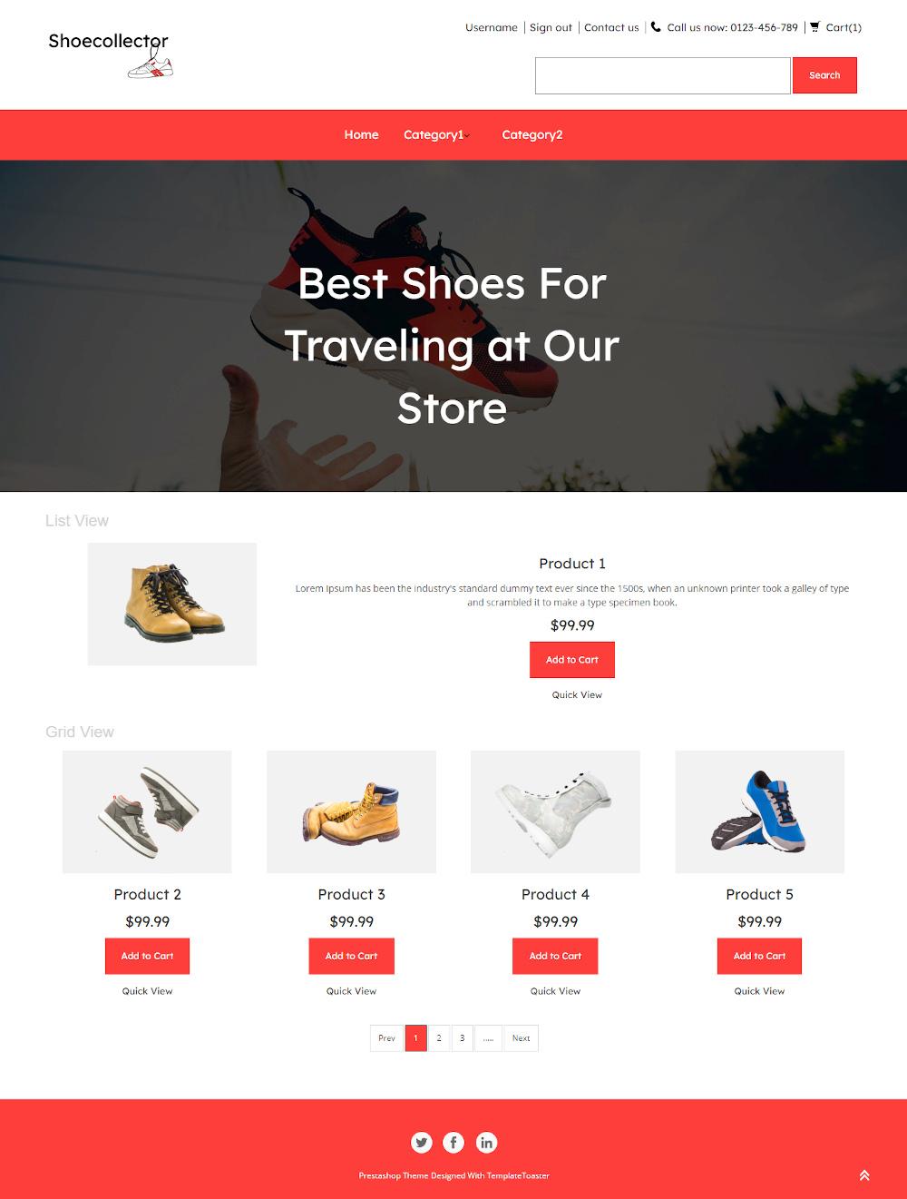 Shoecollector - Online Traveling Shoes Store PrestaShop Theme