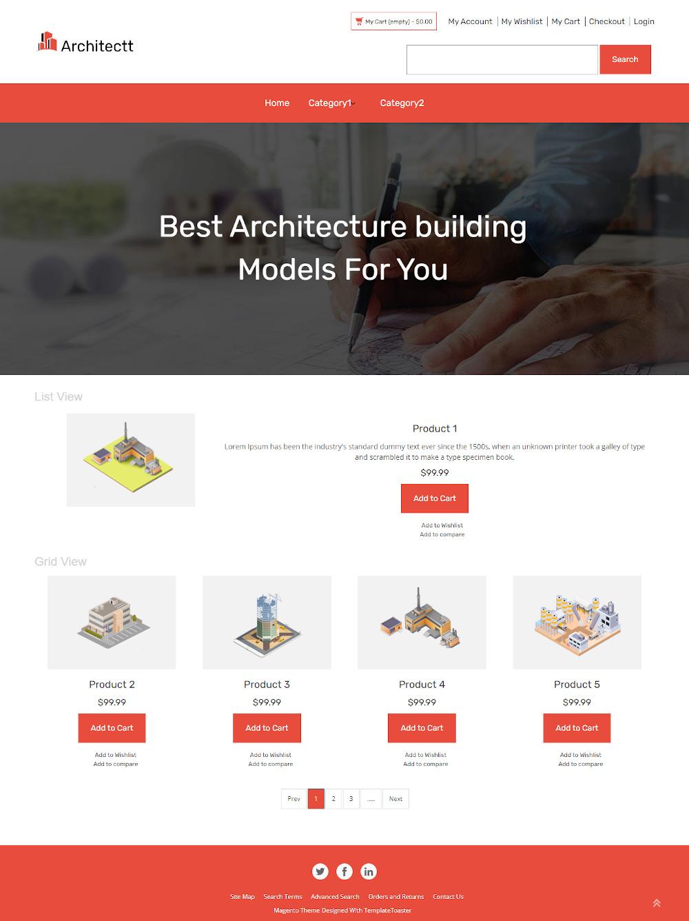 Architectt - Online Architecture Building Model Store Magento Theme