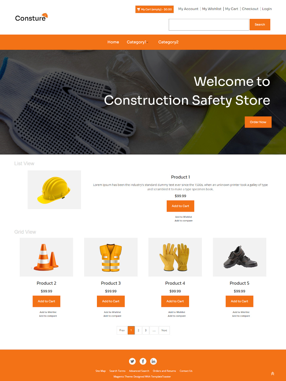 Consture - Online Construction Safety Equipment's Store Magento Theme