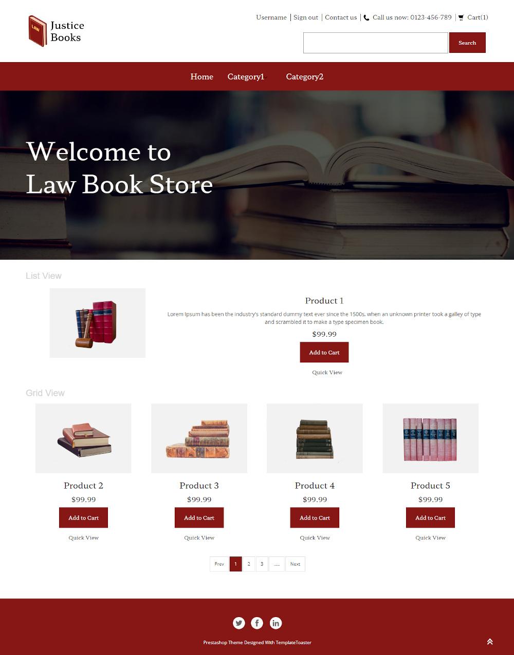 Justice Books - Online Law Education Books Store PrestaShop Theme