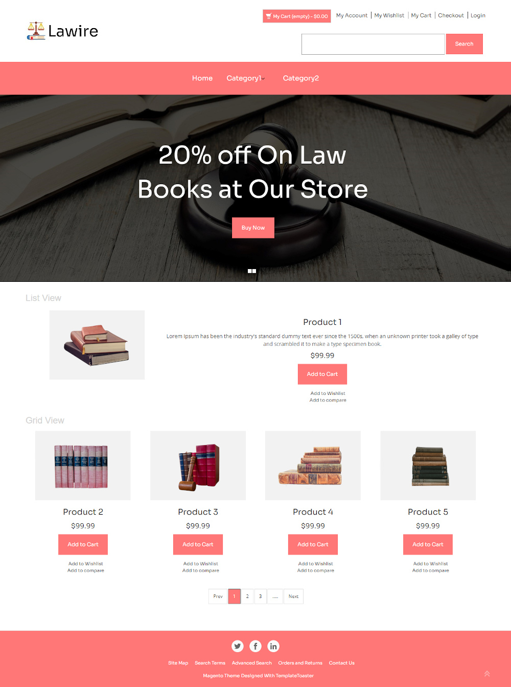 Lawire - Online Law Education Books Store Magento Theme
