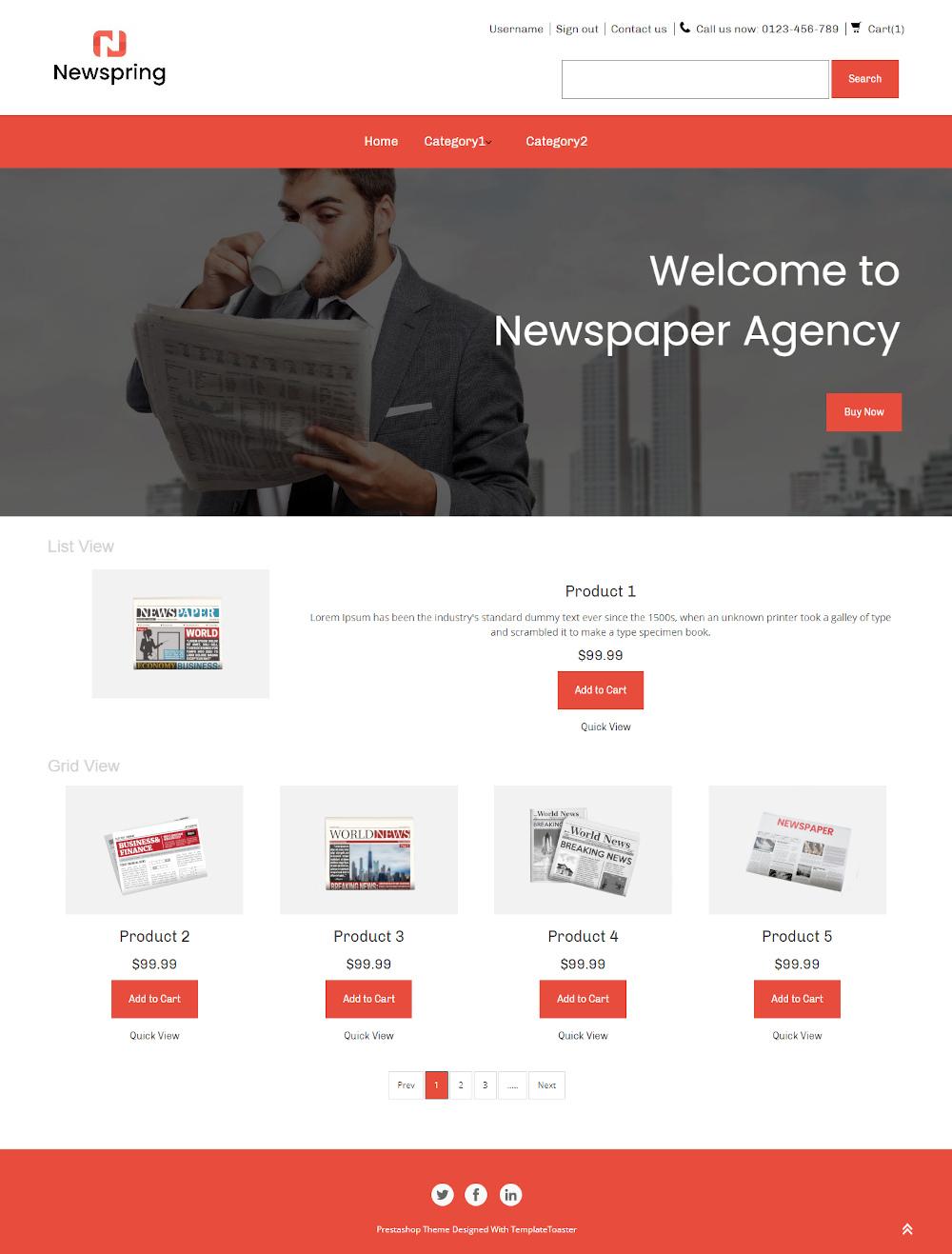 Newspring - Online Newspaper Store PrestaShop Theme