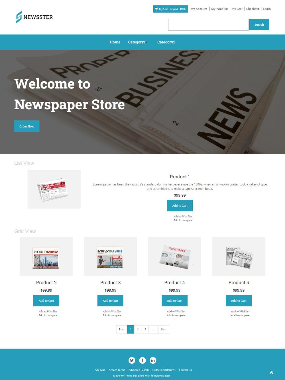 Newsster - Online Newspaper Store Magento Theme