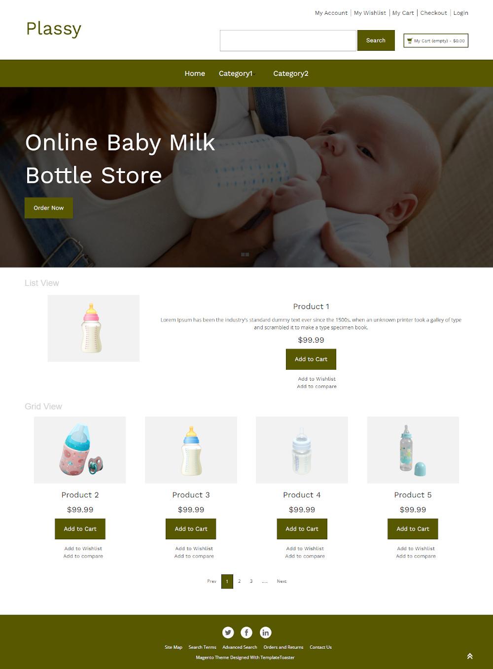 Plassy - Online Baby Milk Bottle Store Magento Theme