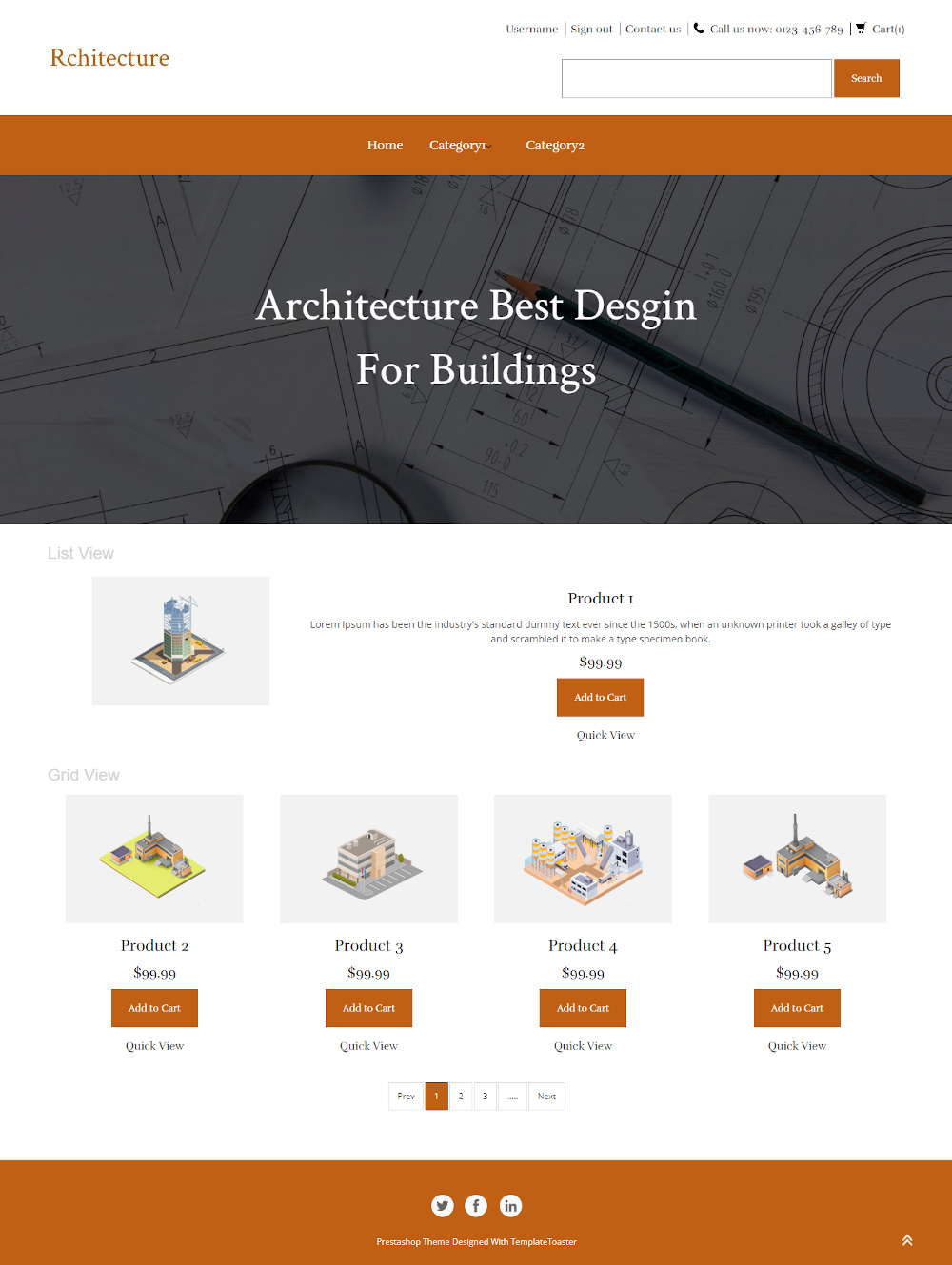 Rchitecture - Online Architecture Building Model Store PrestaShop Theme