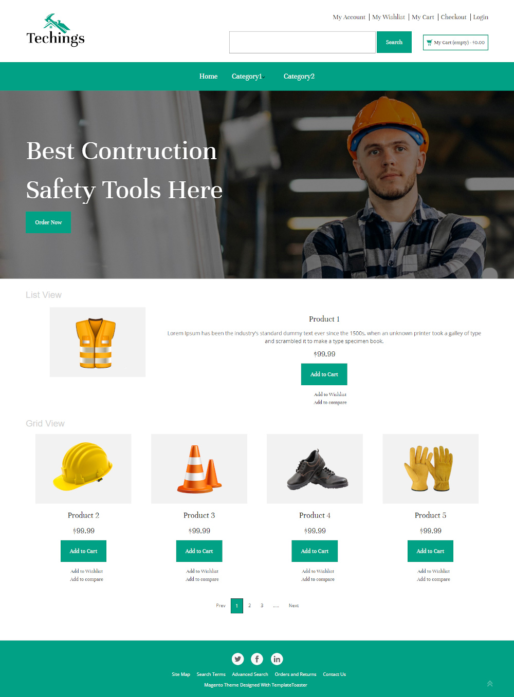 Techings - Online Construction Safety Equipment's Store PrestaShop Theme